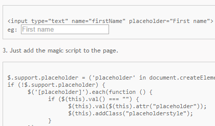 placeholder to work in all the browsers